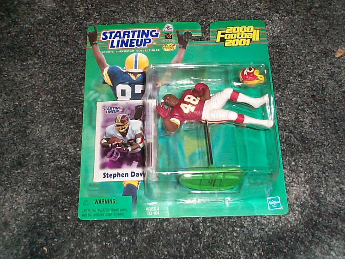 Stephen Davis Washington Redskins 2000/2001 starting lineup NFL football figure with trading card