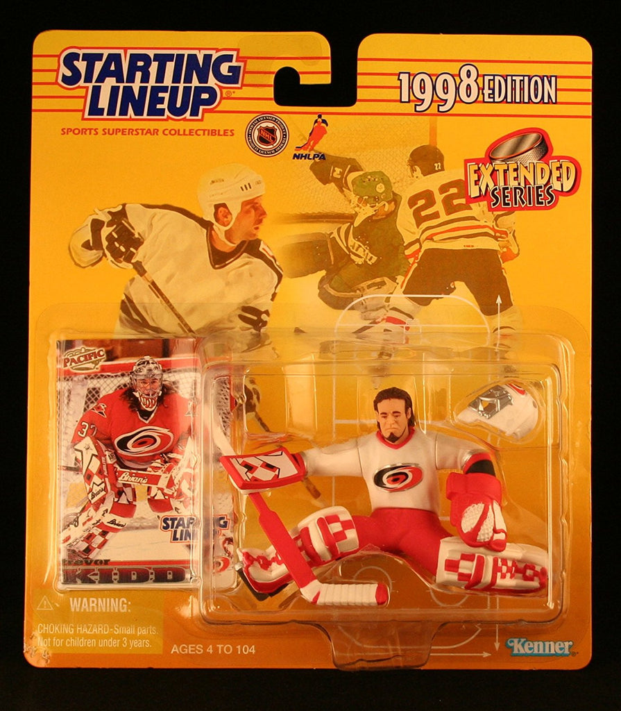 TREVOR KIDD / CAROLINA HURRICANES 1998 Extended Series NHL Starting Lineup Action Figure & Exclusive Pacific NHL Collector Trading Card