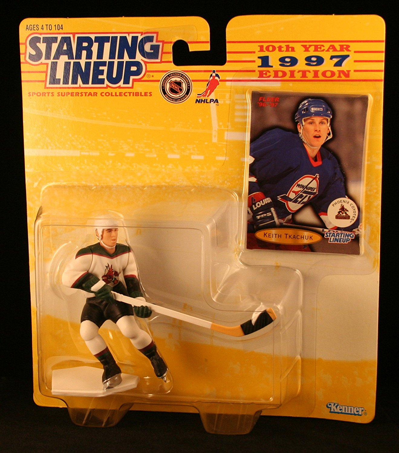 KEITH TKACHUK / PHOENIX COYOTES 1997 NHL Starting Lineup Action Figure & Exclusive NHL FLEER '96/'97 Collector Trading Card