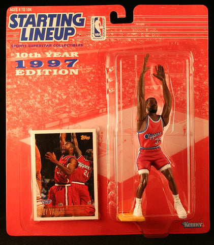 LOY VAUGHT / LOS ANGELES CLIPPERS 1997 NBA Starting Lineup Action Figure & Exclusive NBA Collector Trading Card