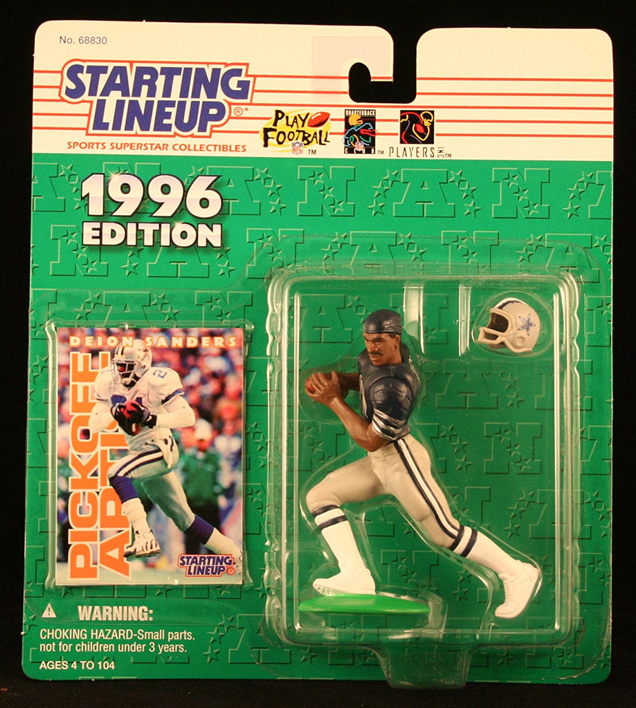 DEION SANDERS / DALLAS COWBOYS 1996 NFL Starting Lineup Action Figure & Exclusive NFL Collector Trading Card