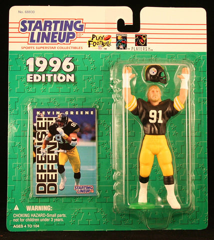 KEVIN GREENE / PITTSBURGH STEELERS 1996 NFL Starting Lineup Action Figure & Exclusive NFL Collector Trading Card