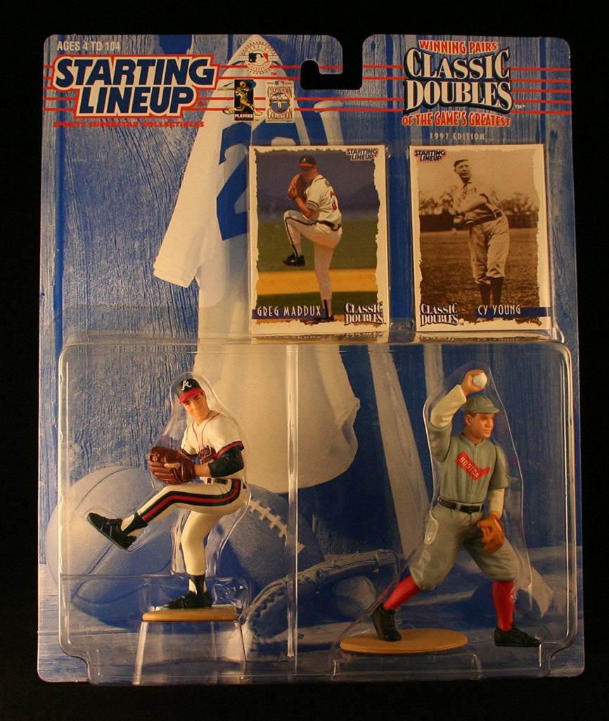 GREG MADDUX / ATLANTA BRAVES & CY YOUNG / BOSTON RED SOX 1997 MLB Classic Doubles * Winning Pairs Series * Starting Lineup Action Figures & 2 Exclusive Collector Trading Cards