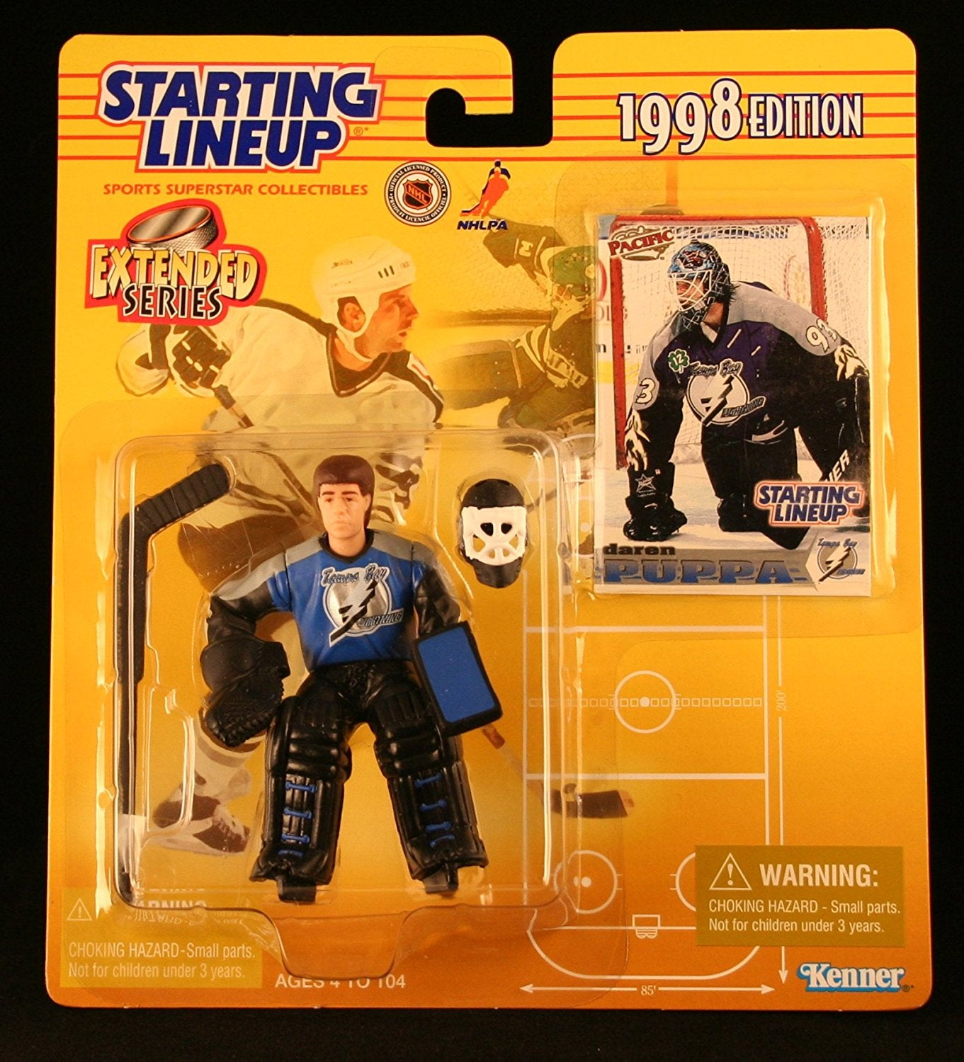 DAREN PUPPA / TAMPA BAY LIGHTNING 1998 Extended Series NHL Starting Lineup Action Figure & Exclusive Pacific NHL Collector Trading Card