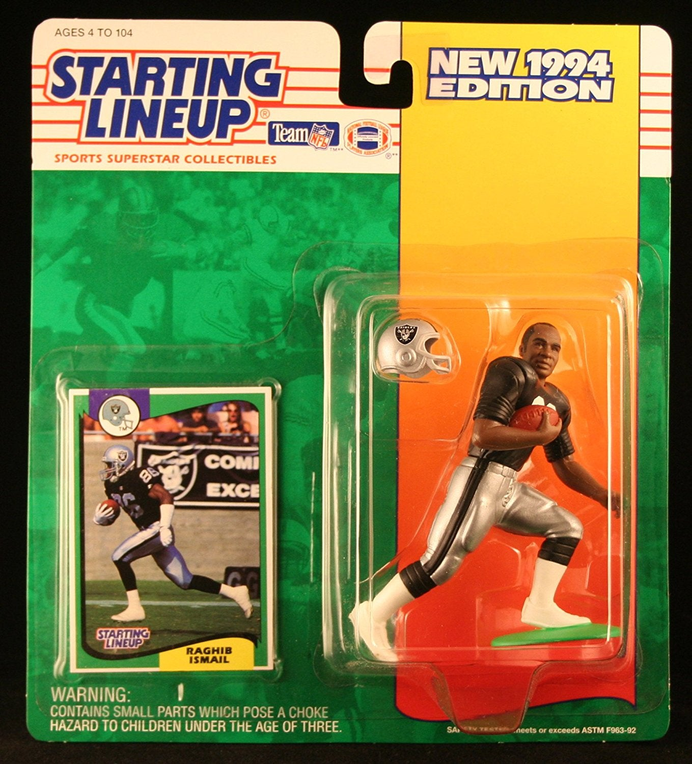 "RAGHIB ""ROCKET"" ISMAIL / LOS ANGELES RAIDERS 1994 NFL Starting Lineup Action Figure & Exclusive NFL Collector Trading Card"