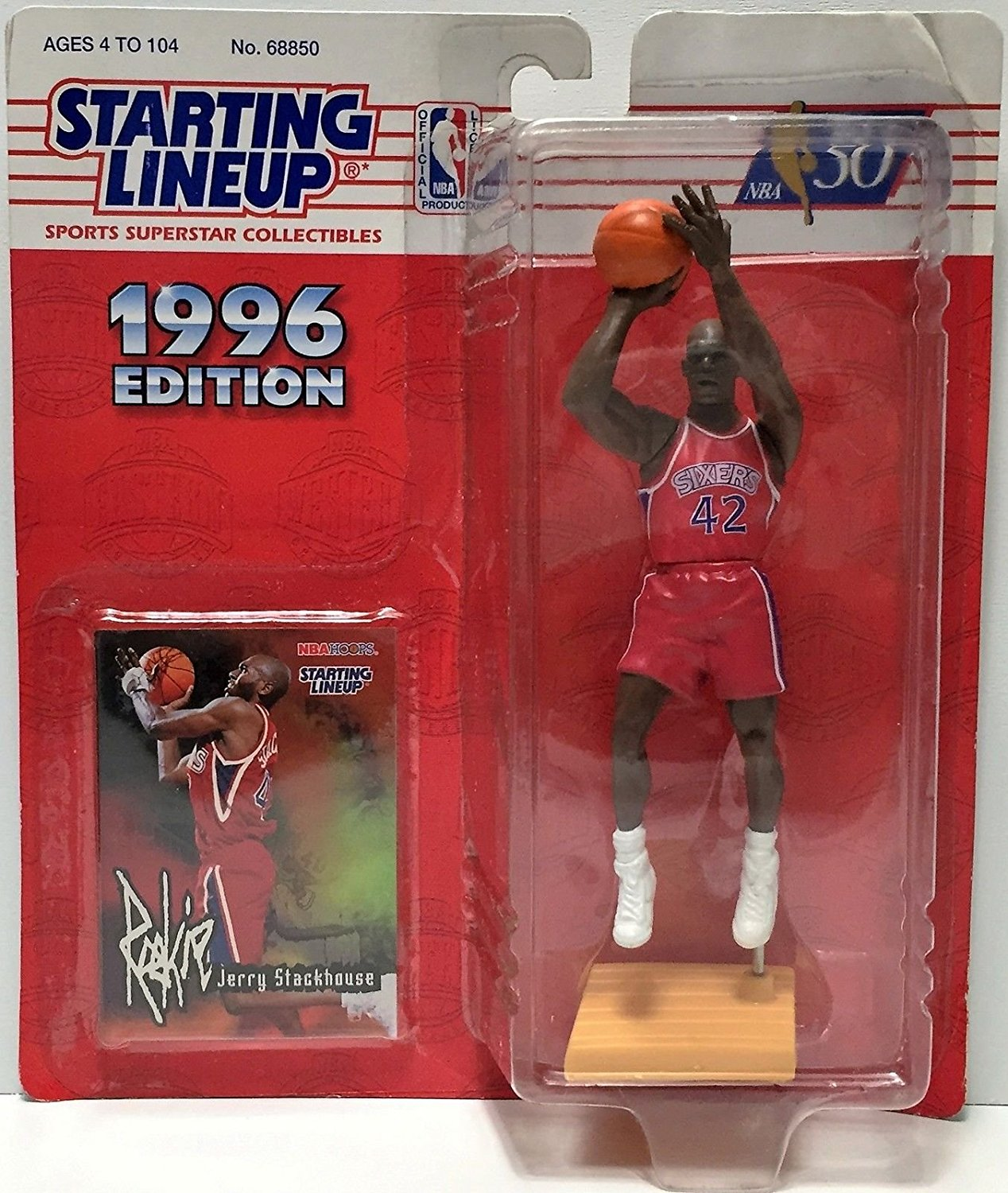 Jerry Stackhouse 1996 Edition Starting Lineup Philadelphia 76ers NBA Action Figure with Rookie Card