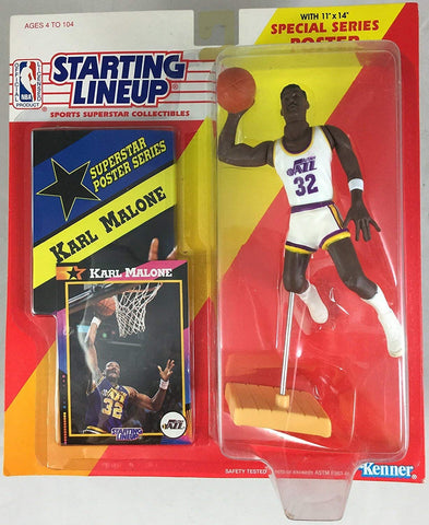 Starting Lineup KARL MALONE 1992 SPORTS ACTION FIGURE UTAH JAZZ WITH COLLECTORS CARD