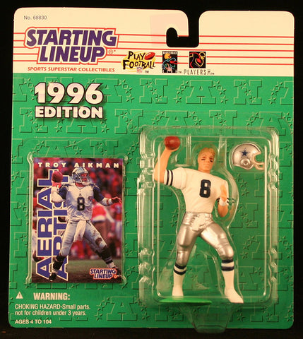 TROY AIKMAN / DALLAS COWBOYS 1996 NFL Starting Lineup Action Figure & Exclusive NFL Collector Trading Card