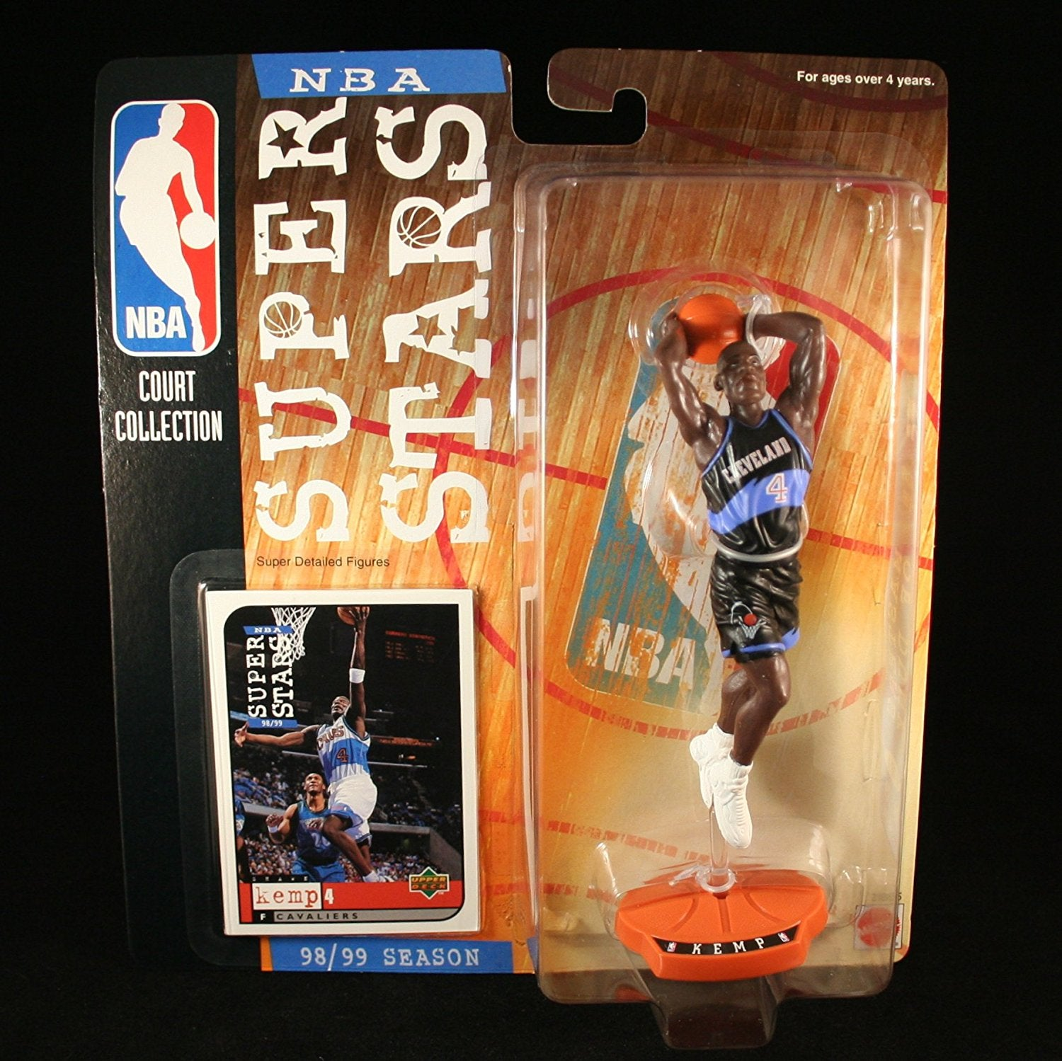 SHAWN KEMP / CLEVELAND CAVALIERS * 98/99 Season * NBA SUPER STARS Super Detailed Figure, Display Base & Exclusive Upper Deck Collector Trading Card