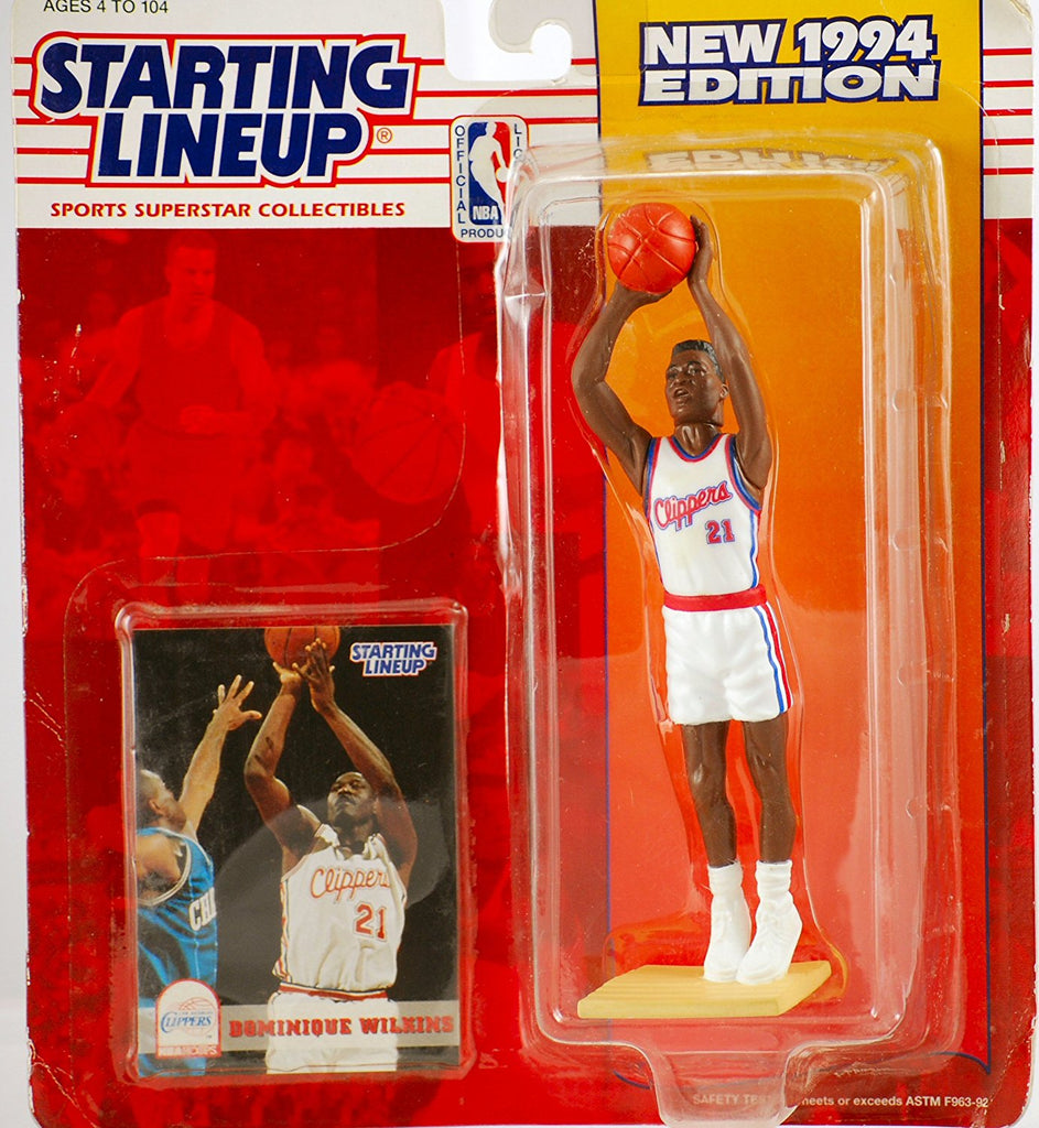 1994 Starting Lineup Dominique Wilkins #21 - Los Angeles Clippers - Vintage Action Figure - w/ Trading Card - Limited Edition - Collectible