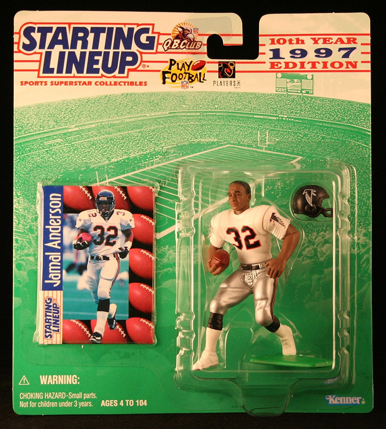 JAMAL ANDERSON / ATLANTA FALCONS 1997 NFL Starting Lineup Action Figure & Exclusive NFL Collector Trading Card