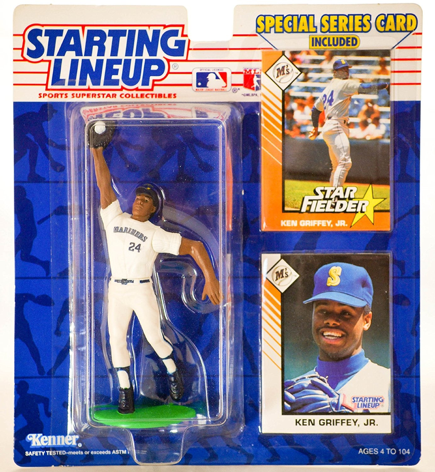 Ken Griffey, Jr. Action Figure in Seattle Mariners 1993 Starting Lineup MLB Sports Superstar Collectible - Special Series Card Included