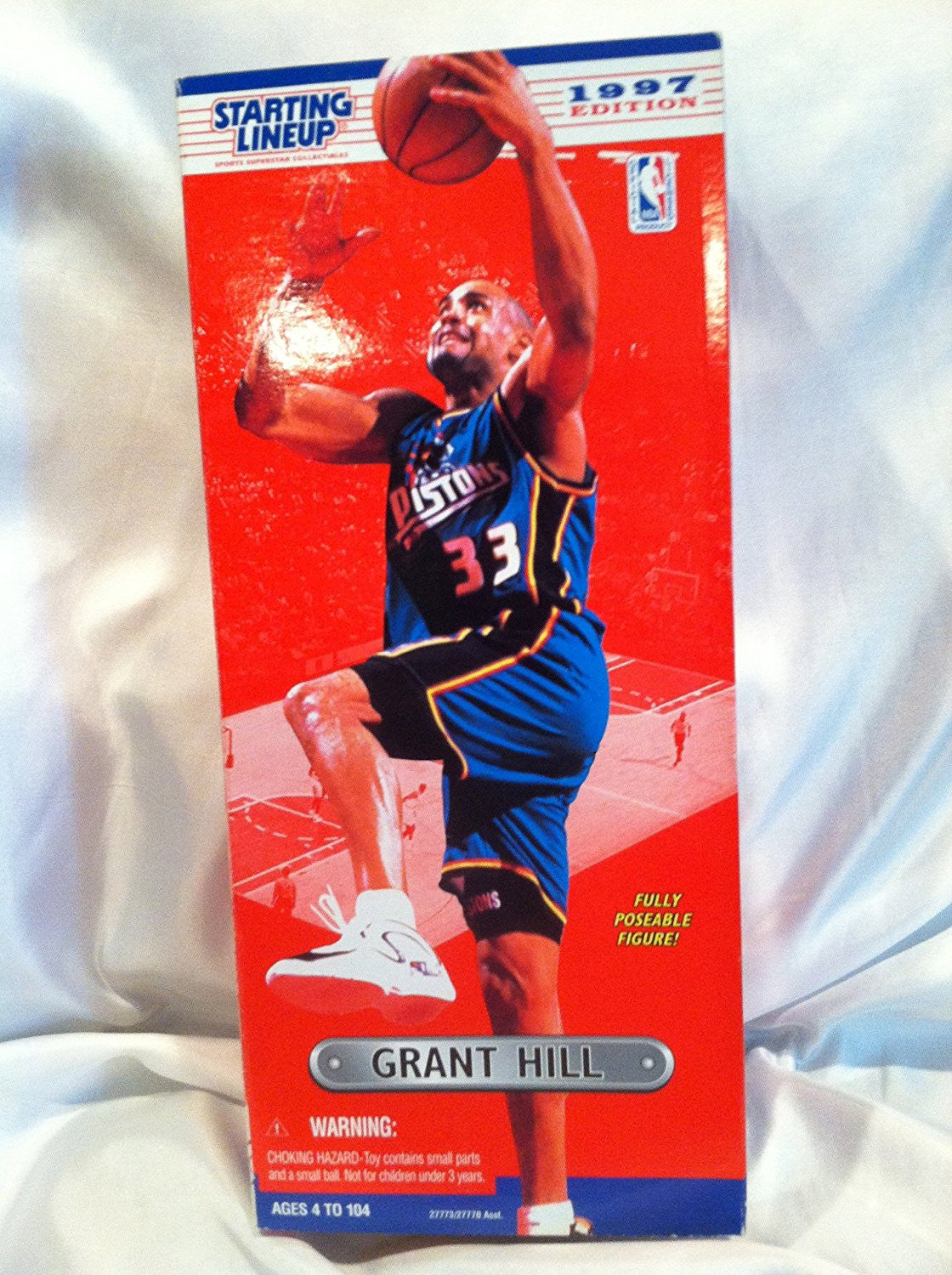 1997 Grant Hill 14 Inch Fully Poseable NBA Starting Lineup Figure Detroit Pistons
