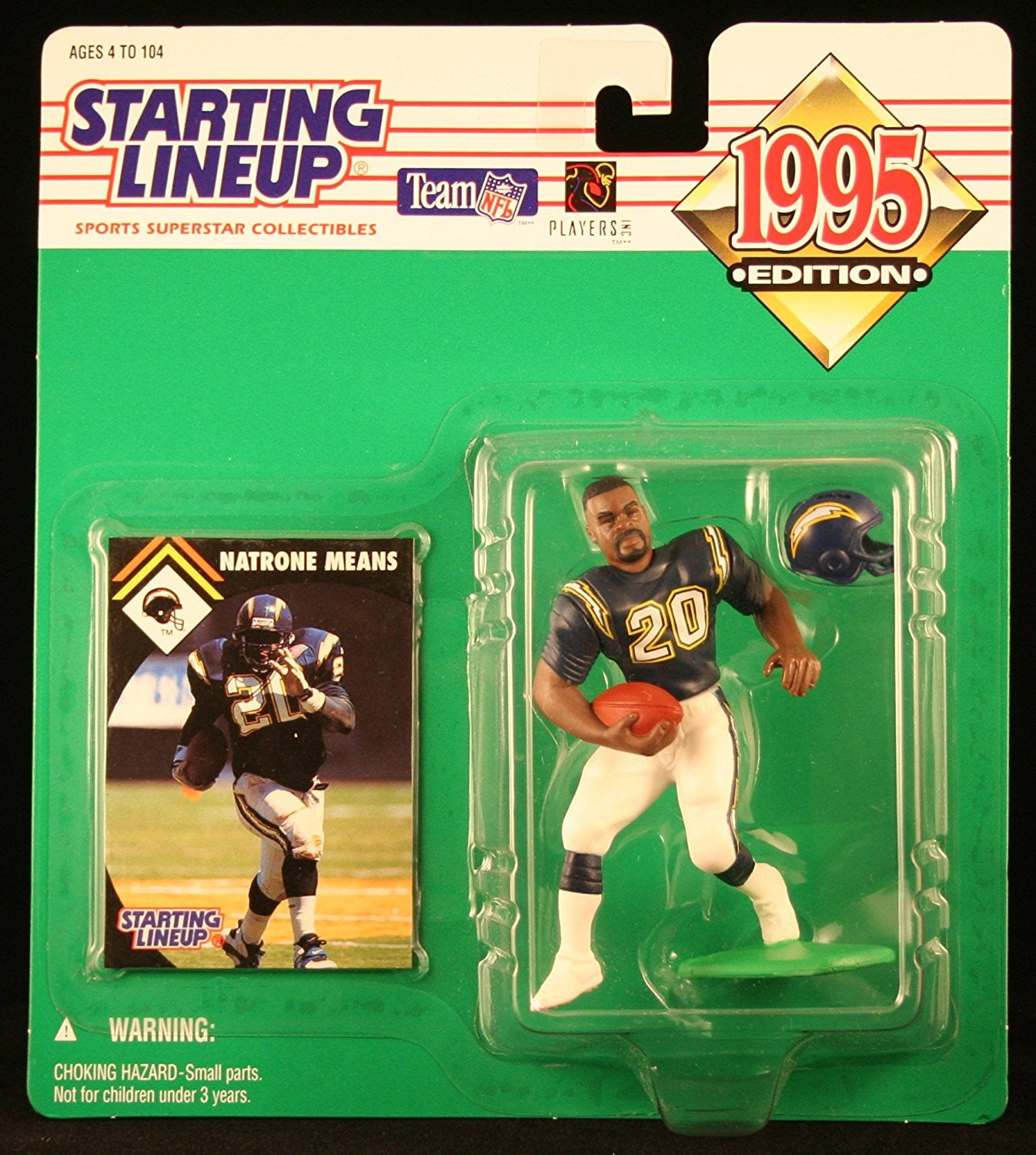 NATRONE MEANS / SAN DIEGO CHARGERS 1995 NFL Starting Lineup Action Figure & Exclusive NFL Collector Trading Card