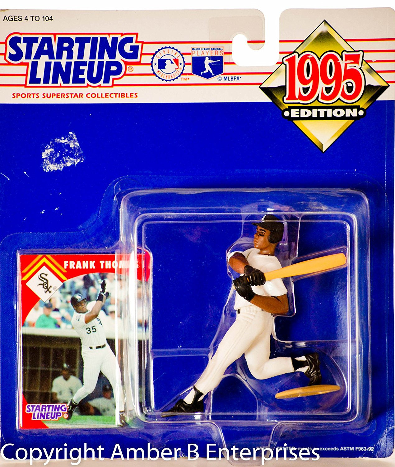 1995 Starting Lineup - MLB - Frank Thomas #35 Action Figure - Chicago White Sox - w/ Trading Card - Out of Production - New - Mint - Rare - Limited Edition - Collectible