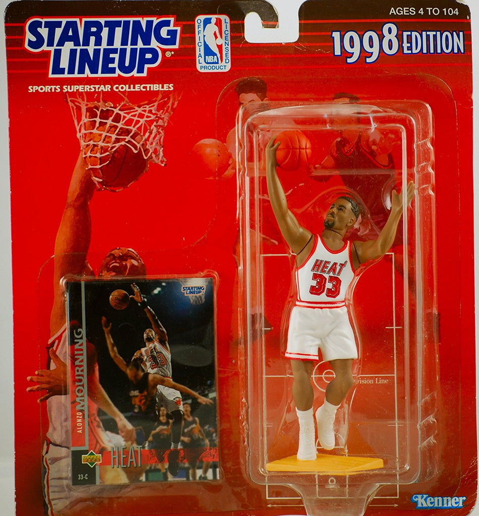 ALONZO MOURNING / MIAMI HEAT 1998 NBA Starting Lineup Action Figure & Exclusive NBA Collector Trading Card