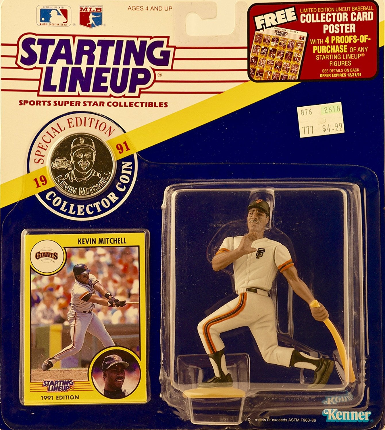 "Starting Lineup 4"" Action Figure - Major Leage Baseball (MLB) - San Francisco Giants - 1991 Special Edition - Kevin Mitchell"