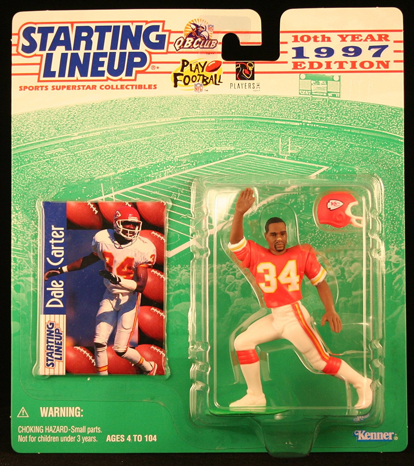 DALE CARTER / KANSAS CITY CHIEFS 1997 NFL Starting Lineup Action Figure & Exclusive NFL Collector Trading Card