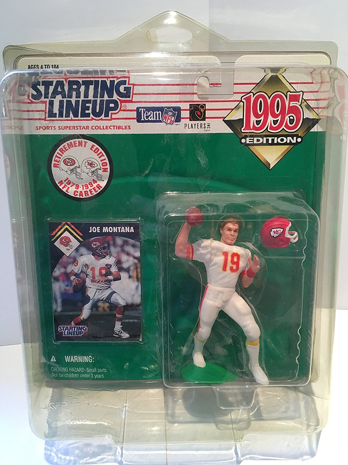 1995 NFL Starting Lineup - Joe Montana - Retirement Edition - Kansas City Chiefs
