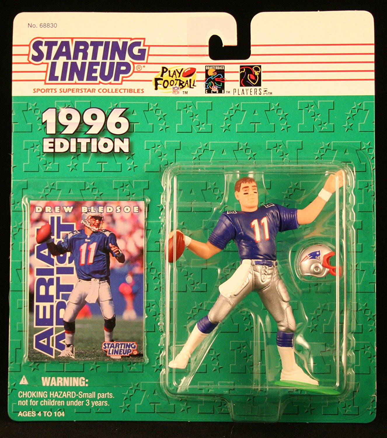 DREW BLEDSOE / NEW ENGLAND PATRIOTS 1996 NFL Starting Lineup Action Figure & Exclusive NFL Collector Trading Card