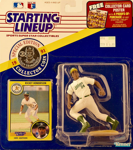 1991 Starting Lineup Rickey Henderson Figure with Collector Coin