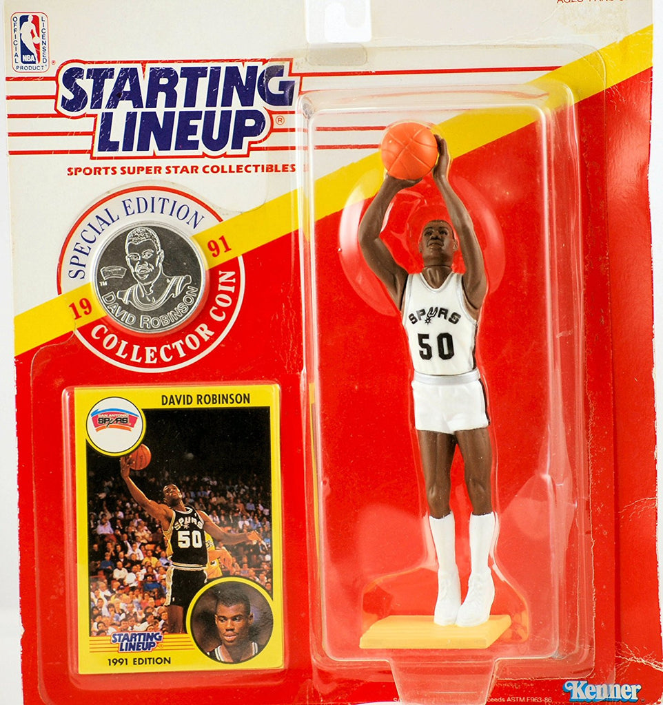 1991 - Kenner - Starting Lineup - Special Edition - David Robinson #50 - San Antonio Spurs - Vintage Action Figure - w/ Trading Card & Commemorative Coin - Rare - Limited Edition - Collectible