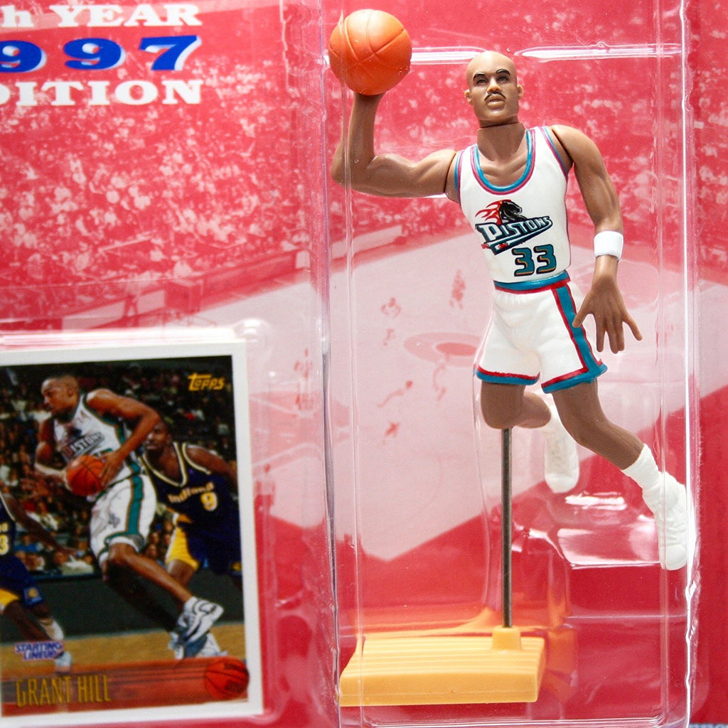 GRANT HILL / DETROIT PISTONS 1997 NBA Starting Lineup Figure & Exclusive TOPPS Collector Trading Card