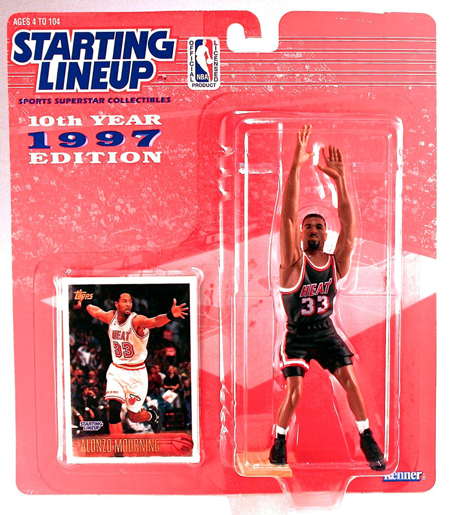 Alonzo Mourning Action Figure Miami Heat - NBA 10th Year 1997 Edition Starting Lineup Sports Superstar Collectibles
