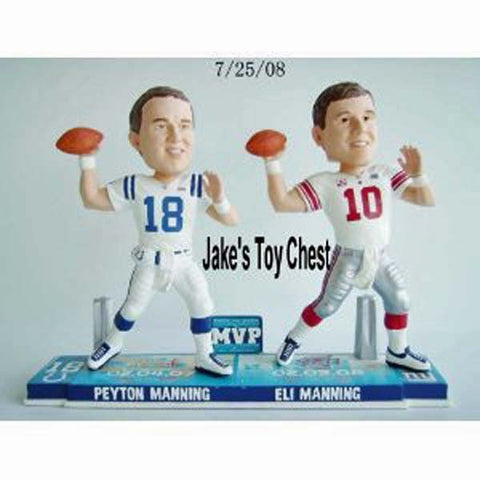 Peyton Manning & Eli Manning Super Bowl MVP Forever Collectibles Bobblehead New Only 360 Were Made Each Numbered 9 Inch