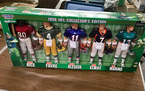 1998 12 inch Football Set of 5  special edition - Marino, Bledsoe, Rice, Favre, and Elway Starting Lineup