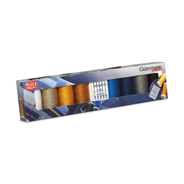 A&E Gütermann creativ Denim Thread Set with Schmetz Jeans Needles