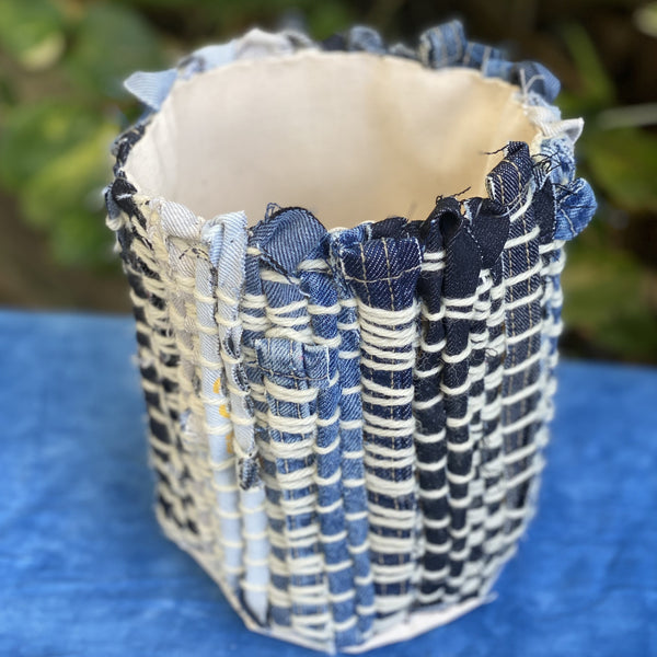Indigo Roots Denim Planter Made with Cone Denim