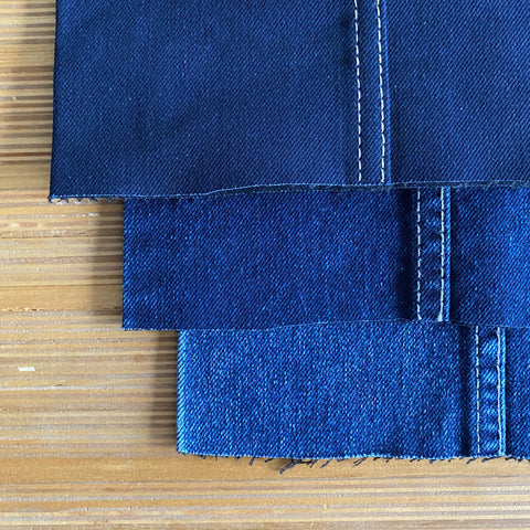 Style P22174 : Natural Indigo S Gene® Stretch Denim with Recycled Cotton, Tencel and Black Weft  12.00 oz.