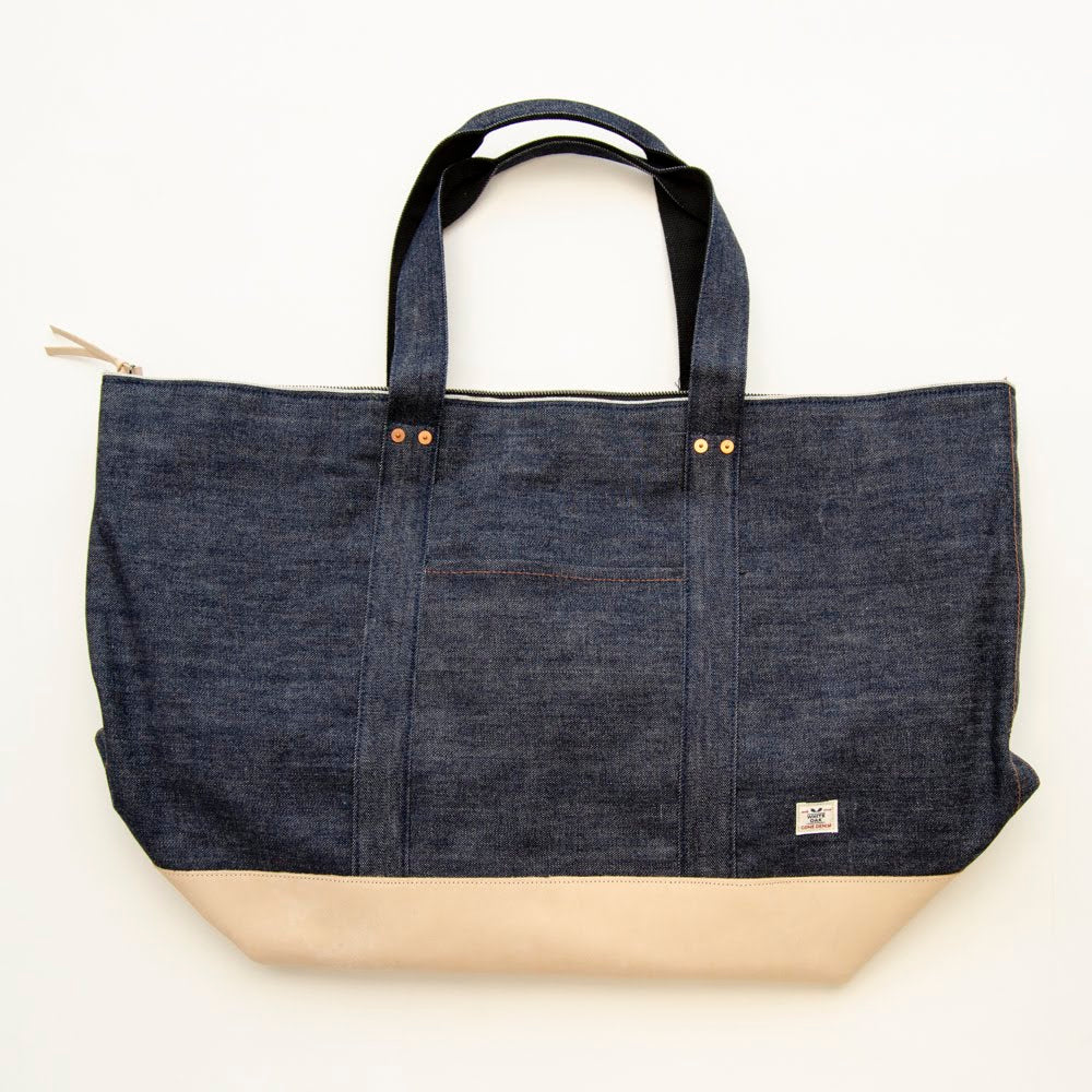 Selvage Denim and Leather Large Tote Bag