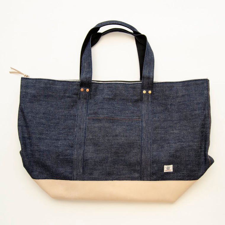 Large Selvage Denim and Leather Tote Bag