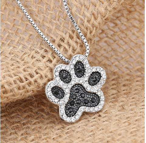 Necklace - Dog Paw Crystal Rhinestone