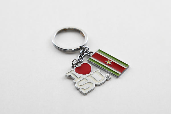 I love Su and Suriname Flag Keychain