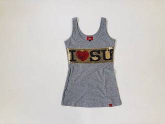 Women's Horizontal sequin I Love Su Top
