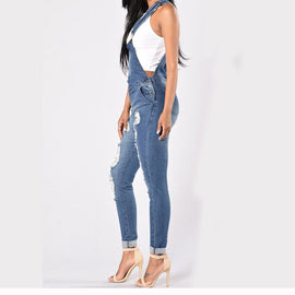 Longue Jumpsuits Rompers en Jeans Denim Déchiré T