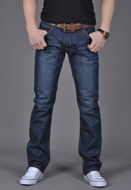 Pantalon Jeans Denim Décontracté Bleu Stright Slim Fit