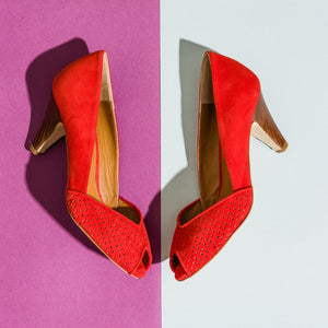 KIKI Red Suede Peep Toe