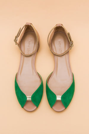 JULIETTE Green Flat Pee Toe