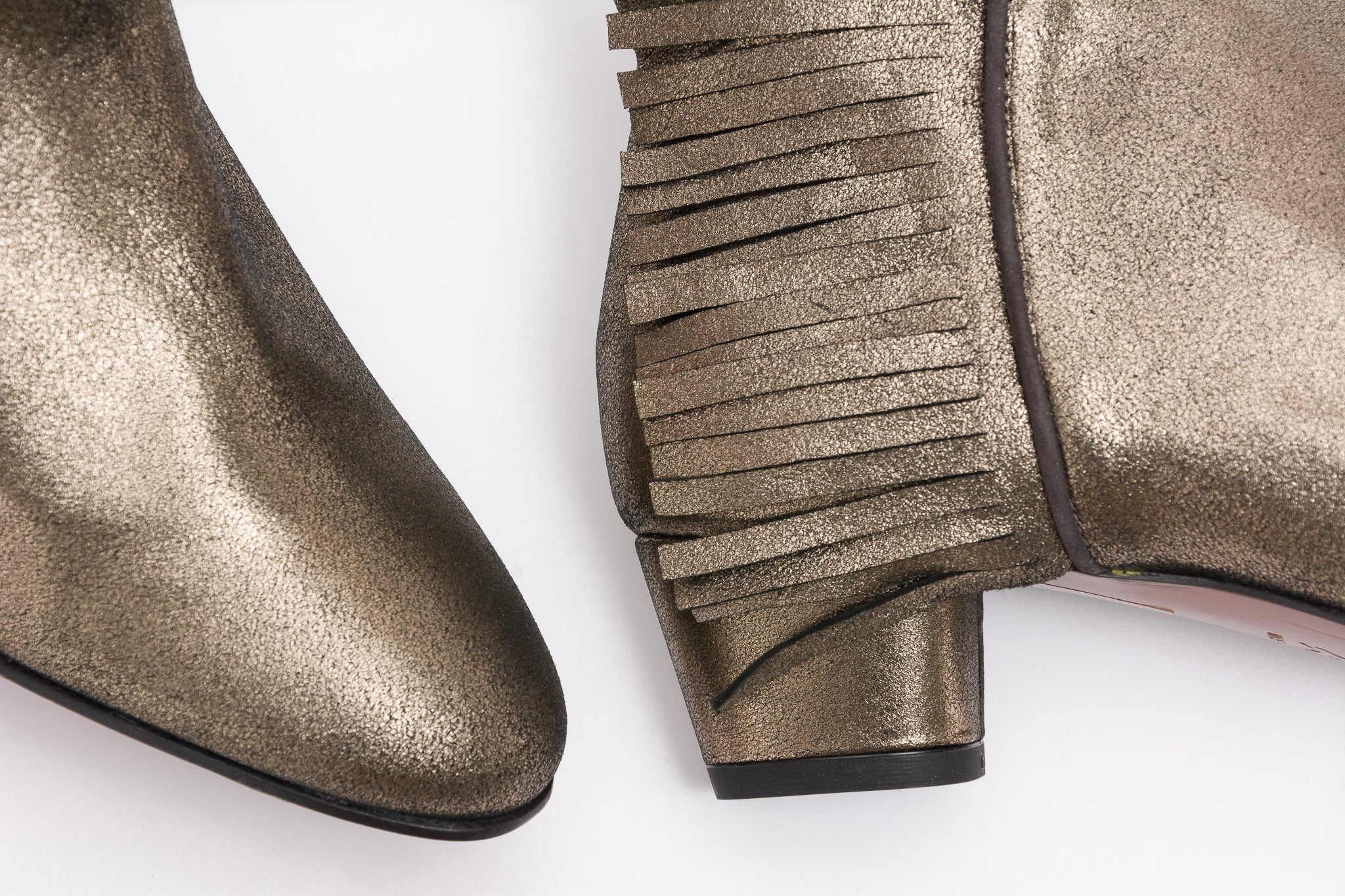 DEVON Metallic Pewter Fringe Bootie