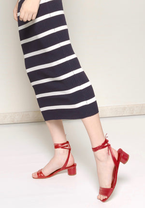 ELLY Red Lipstick Ankle-wrapping Sandal