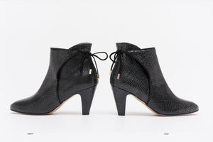 FLORENCE Snake Black Leather Bootie