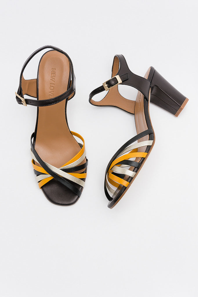 KARINE Multicolor Yellow Strappy Heels