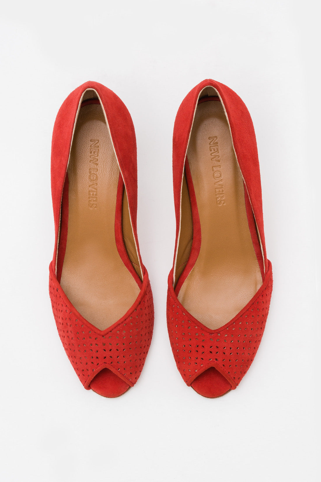 KIKI Peep Toe Suede Red