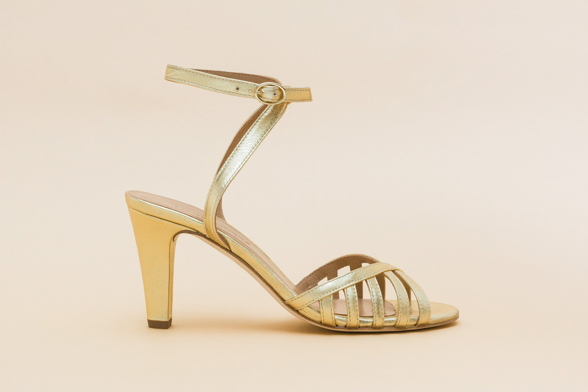 LOU LOU Metal Gold Strappy Sandal