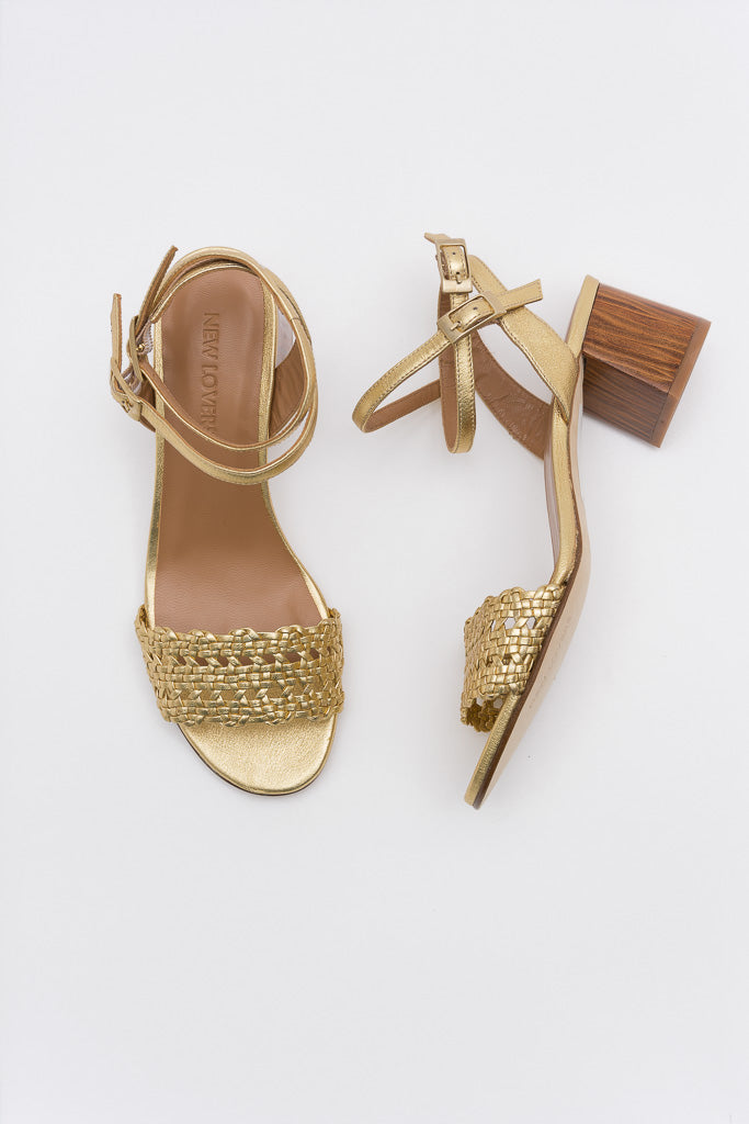 MAY Golden Woven Sandal