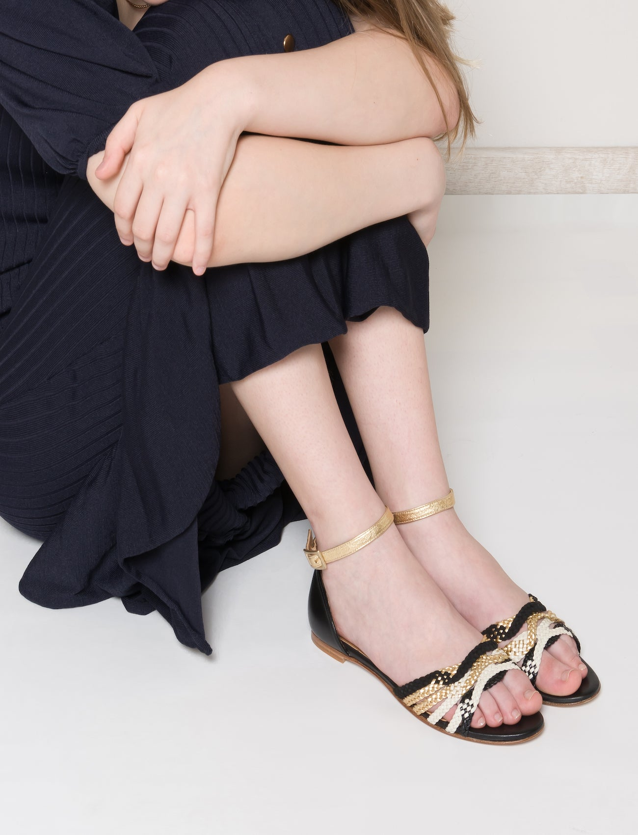 MENPHIS Handbraided Black&Gold Flat Sandals